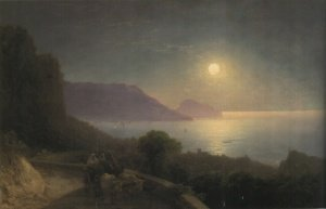 VIEW OF CRIMEA AT MOONLIGHT 46 by74 cm