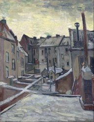 Печать на холсте Backyards of Old Houses in Antwerp in the Snow, 1885