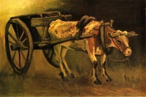 Печать на холсте Cart with Red and White Ox, 1884